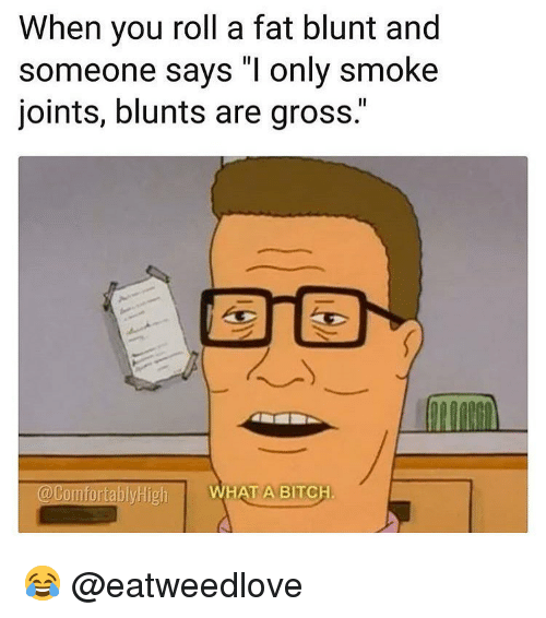 "Bitch, Blunts, and Memes: When you roll a fat blunt and  someone says ""I only smoke  joints, blunts are gross.""  @ComfortablyHigh  WHAT A BITCH 😂 @eatweedlove"