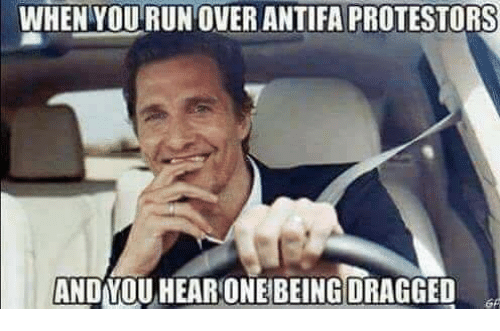 Memes, Run, and 🤖: WHEN YOU RUN OVER ANTIFA PROTESTORS  AND YOU HEAR ONE BEING DRAGGED