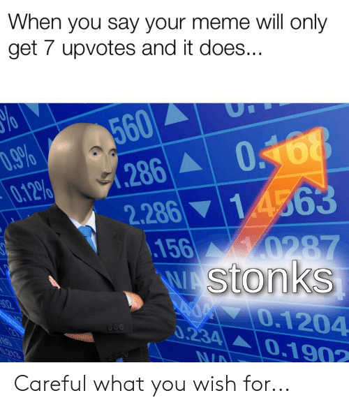 Meme, Will, and You: When you say your meme will only  get 7 upvotes and it does...  560  D.9%  0.12%  0168  .286  1.4563  2.286  \156 0287  WAStonkS  AM O.1204  0.234 0.1902  02  0.213  NID Careful what you wish for...