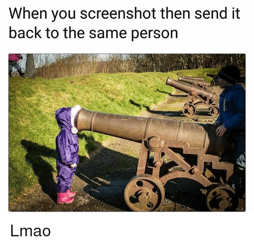 Funny, Lmao, and Back: When you screenshot then send it  back to the same person Lmao