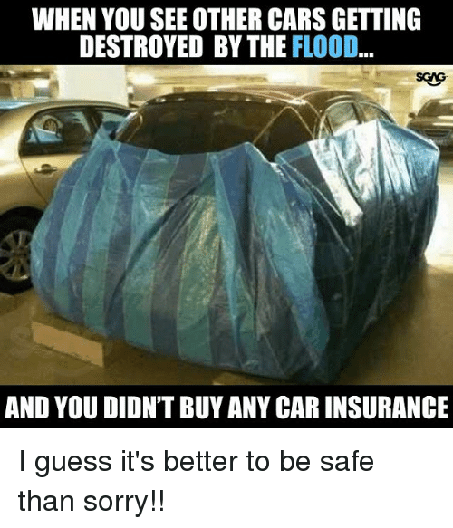 Cars, Memes, and Sorry: WHEN YOU SEE OTHER CARS GETTING  DESTROYED BY THE FLOOD  SCAG  AND YOU DIDN'T BUY ANY CAR INSURANCE I guess it's better to be safe than sorry!!
