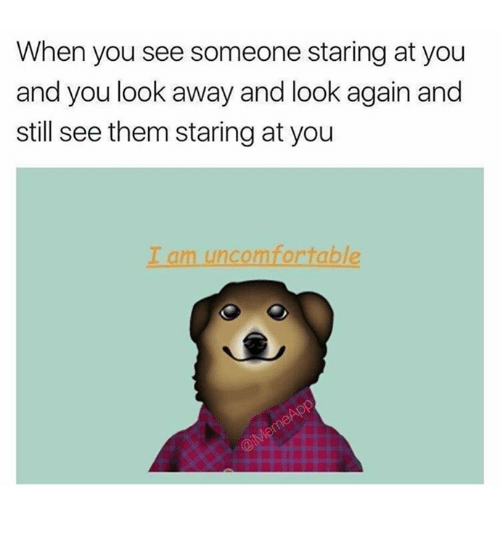 Memes, 🤖, and Them: When you see someone staring at you  and you look away and look again and  still see them staring at you  I am uncomfortable
