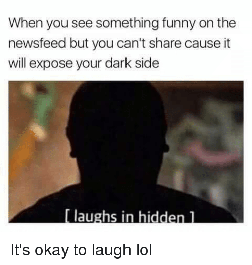 Funny, Lol, and Okay: When you see something funny on the  newsfeed but you can't share cause it  will expose your dark side  laughs in hid It's okay to laugh lol
