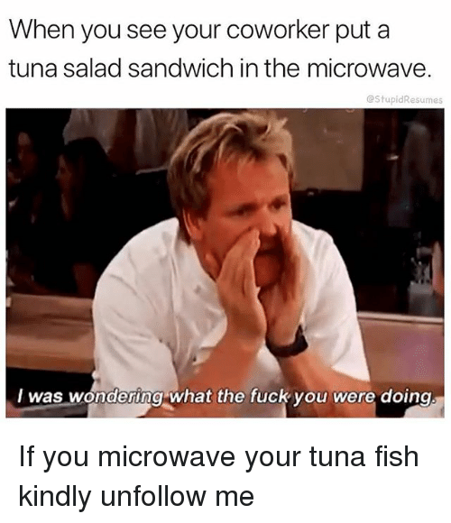 Fuck You, Funny, and Fish: When you see your coworker put a  tuna salad sandwich in the microwave  @StupidResumes  I was wondering what the fuck you were doing If you microwave your tuna fish kindly unfollow me