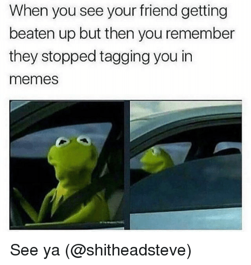 Memes, 🤖, and Friend: When you see your friend getting  beaten up but then you remember  they stopped tagging you in  memes See ya (@shitheadsteve)