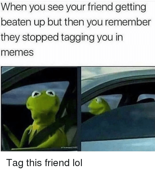 Funny, Lol, and Memes: When you see your friend getting  beaten up but then you remember  they stopped tagging you in  memes Tag this friend lol