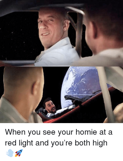 Homie, Memes, and 🤖: When you see your homie at a red light and you're both high 💨🚀