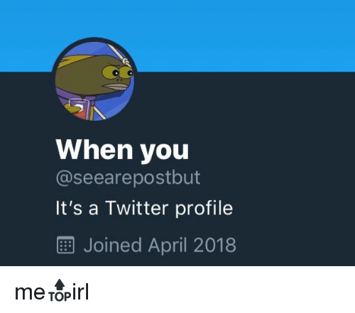 When You It's a Twitter Profile EE Joined April 2018   Twitter Meme