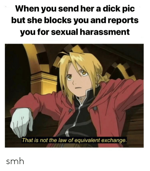 Anime, Smh, and Dick: When you send her a dick pic  but she blocks you and reports  you for sexual harassment  That is not the law of equivalent exchange smh