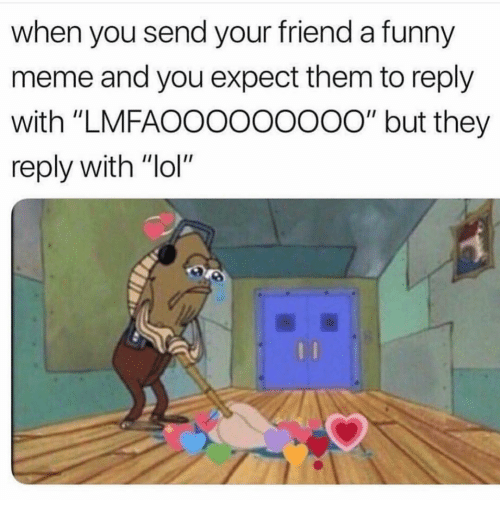 "Funny, Lol, and Meme: when you send your friend a funny  meme and you expect them to reply  with ""LMFAOOOOOoo0o"" but they  reply with ""lol"""