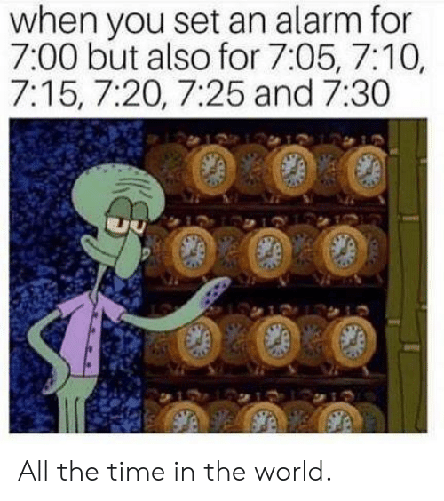 Dank, Alarm, and Time: when you set an alarm for  7:00 but also for 7:05, 7:10,  7:15, 7:20, 7:25 and 7:30  0 All the time in the world.
