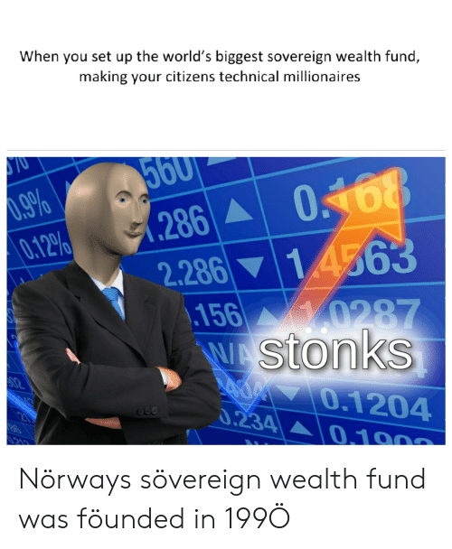 History, Set, and Citizens: When you set up the world's biggest sovereign wealth fund,  making your citizens technical millionaires  ST0  560  .9%  0.12%  O168  1.286  2.286 14563  156 0287  WAStonks  02  0.1204  0.234 0.100  215 Nörways sövereign wealth fund was föunded in 199Ö