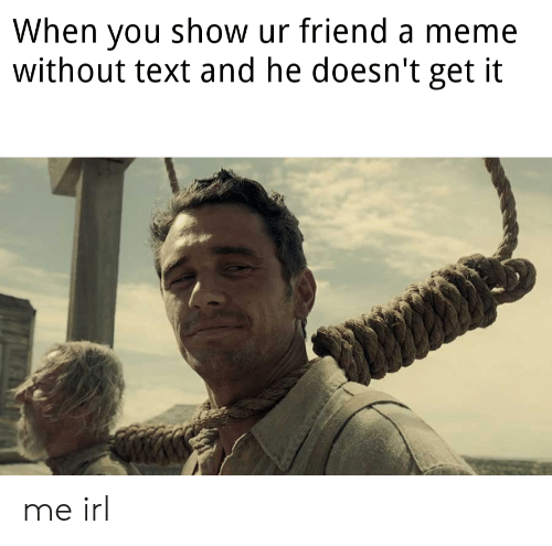 Meme, Text, and Irl: When you show ur friend a meme  without text and he doesn't get it me irl