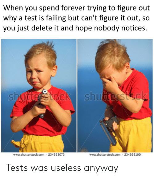 Forever, Test, and Figure It Out: When you spend forever trying to figure out  why a test is failing but can't figure it out, so  you just delete it and hope nobody notices.  www.shutterstock.com 234663073  www.shutterstock.com 234663190 Tests was useless anyway