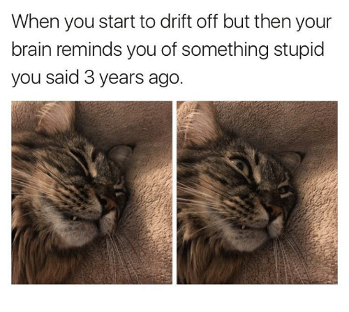 Dank, Brain, and 🤖: When you start to drift off but then your  brain reminds you of something stupid  you said 3 years ago