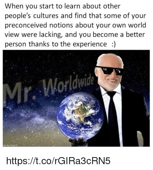 Memes, World, and Experience: When you start to learn about other  people's cultures and find that some of your  preconceived notions about your own world  view were lacking, and you become a better  person thanks to the experience  Worldwide https://t.co/rGIRa3cRN5