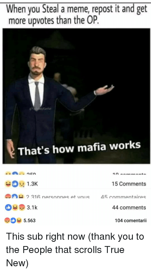 Meme, True, and Thank You: When you Steal a meme, repost it and get  more upvotes than the OP.  That's how mafia works  1.3  15 Comments  45 commentaires  44 comments  104 comentarii  5.563