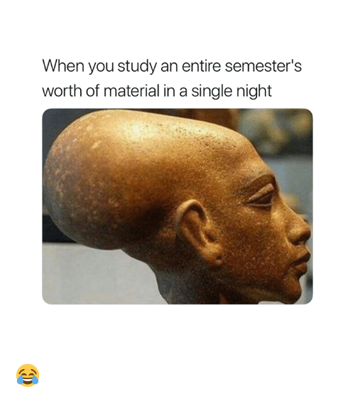 Single, You, and Study: When you study an entire semester's  worth of material in a single night 😂