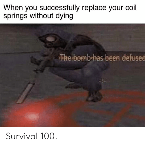 Cars, Been, and Survival: When you successfully replace your coil  springs without dying  The bomb has been defused Survival 100.