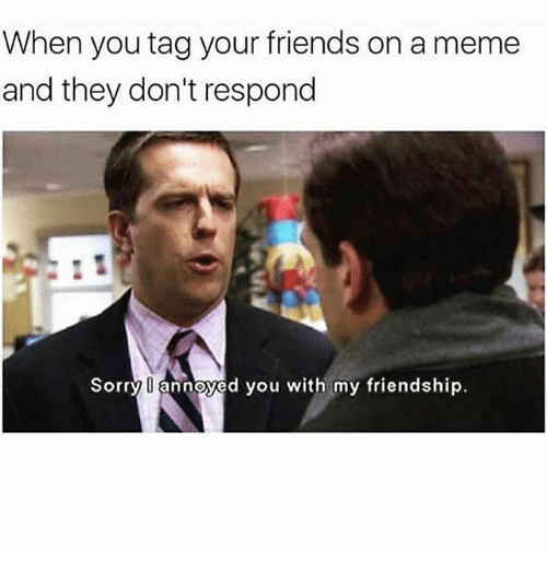 Friends, Meme, and Memes: When you tag your friends on a meme  and they don't respond  Sorry U annoyed you with my friendship