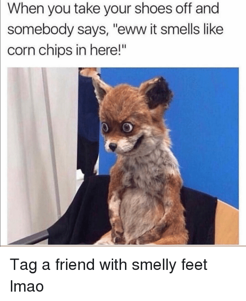 "Funny, Lmao, and Shoes: When you take your shoes off and  somebody says, ""eww it smells like  corn chips in here!"" Tag a friend with smelly feet lmao"