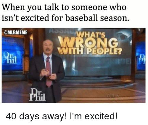 Baseball, Mlb, and Who: When you talk to someone who  isn't excited for baseball season.  @MLBMEME  WRONG  WITH PEOPLE? 40 days away! I'm excited!