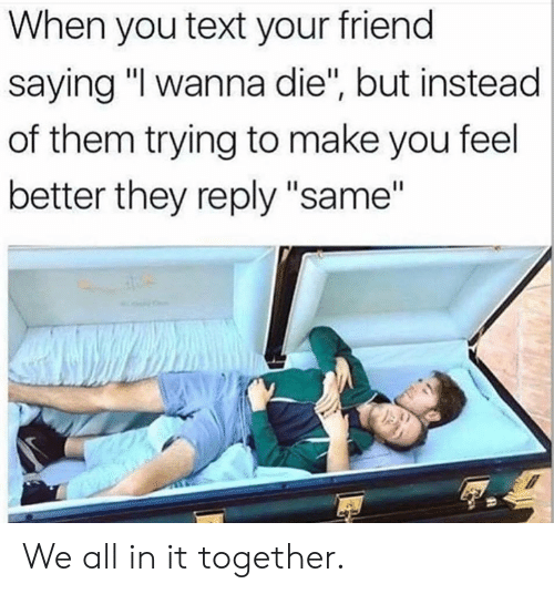 """Dank, Text, and 🤖: When you text your friend  saying """"I wanna die"""", but instead  of them trying to make you feel  better they reply """"same"""" We all in it together."""