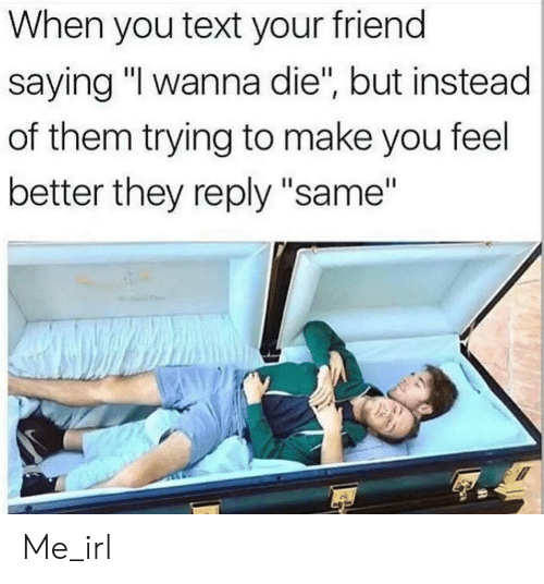 """Text, Irl, and Me IRL: When you text your friend  saying """"I wanna die"""", but instead  of them trying to make you feel  better they reply """"same"""" Me_irl"""