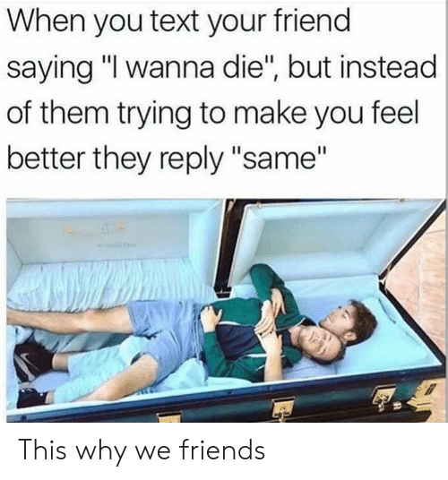 """Dank, Friends, and Text: When you text your friend  saying """"I wanna die"""", but instead  of them trying to make you feel  better they reply """"same"""" This why we friends"""