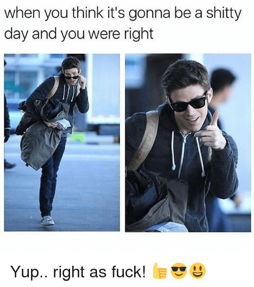 Memes, Fuck, and 🤖: when you think it's gonna be a shitty  day and you were right Yup.. right as fuck! 👍😎😃