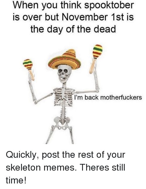 Memes, Time, and Back: When you think spooktober  is over but November 1st is  the day of the dead  I'm back motherfuckers Quickly, post the rest of your skeleton memes. Theres still time!