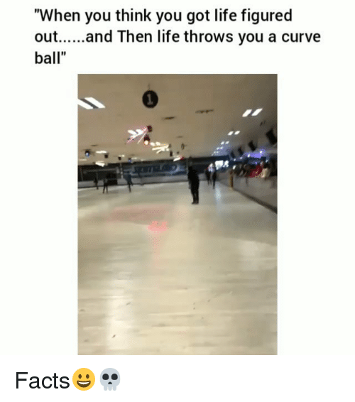 """Curving, Facts, and Funny: """"When you think you got life figured  out.... and Then life throws you a curve  ball"""" Facts😀💀"""