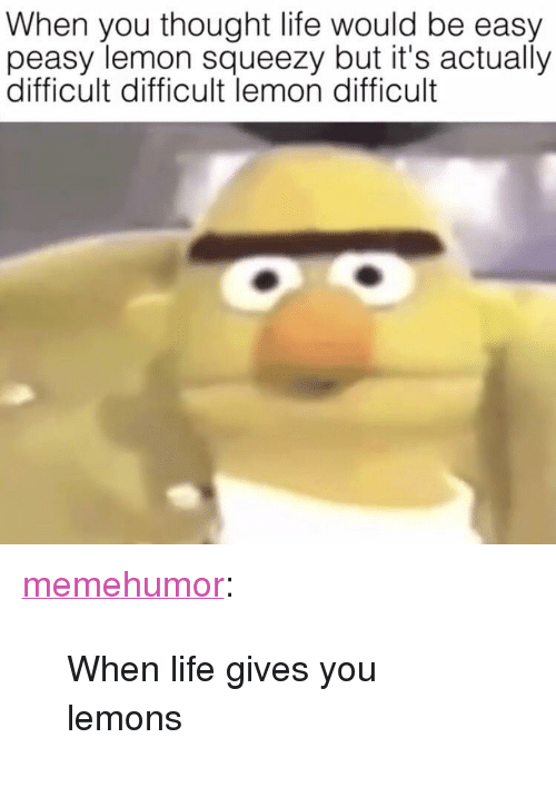 "Life, Tumblr, and Blog: When you thought life would be easy  peasy lemon squeezy but it's actually  difficult difficult lemon difficult <p><a href=""http://memehumor.net/post/171038327955/when-life-gives-you-lemons"" class=""tumblr_blog"">memehumor</a>:</p>  <blockquote><p>When life gives you lemons</p></blockquote>"
