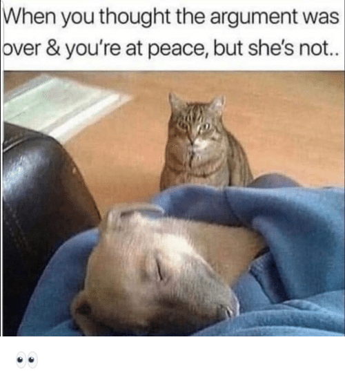 Funny, Peace, and Thought: When you thought the argument was  over & you're at peace, but she's not. 👀