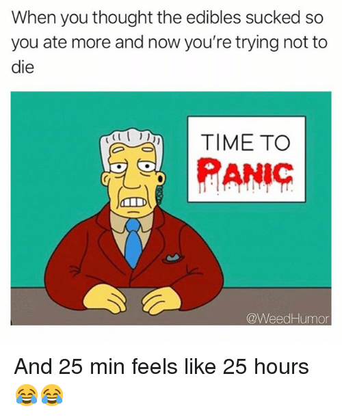Weed, Marijuana, and Time: When you thought the edibles sucked so  you ate more and now you're trying not to  die  TIME TO  PANiC  @WeedHumor And 25 min feels like 25 hours 😂😂