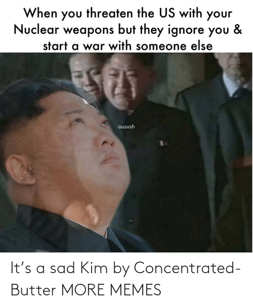 Dank, Memes, and Target: When you threaten the US with your  Nuclear weapons but they ignore you  &  start a war with someone else  ousxsh It's a sad Kim by Concentrated-Butter MORE MEMES