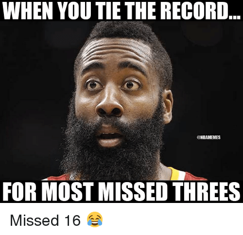 Basketball, Nba, and Sports: WHEN YOU TIE THE RECORD  @NBAMEMES  FOR MOST MISSED THREES Missed 16 😂