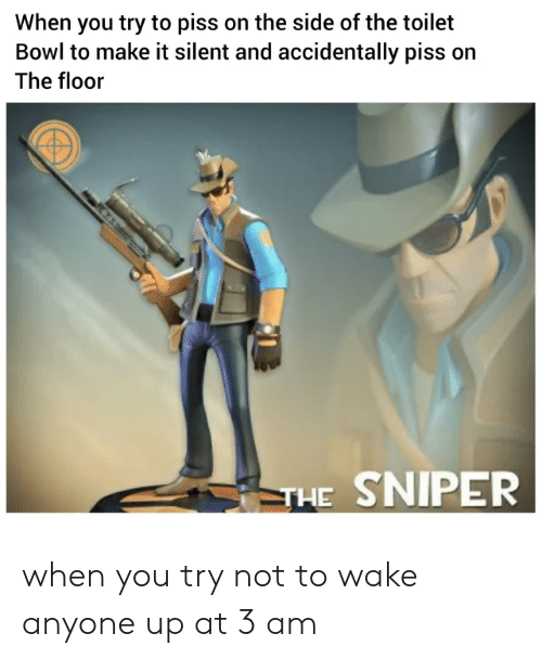 Bowl, Sniper, and Wake: When you try to piss on the side of the toilet  Bowl to make it silent and accidentally piss on  The floor  THE SNIPER when you try not to wake anyone up at 3 am
