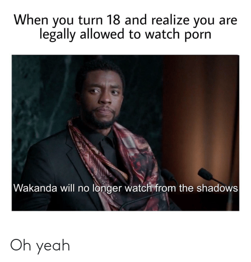 Yeah, Porn, and Watch: When you turn 18 and realize you  legally allowed to watch porn  Wakanda will no longer watch from the shadows Oh yeah