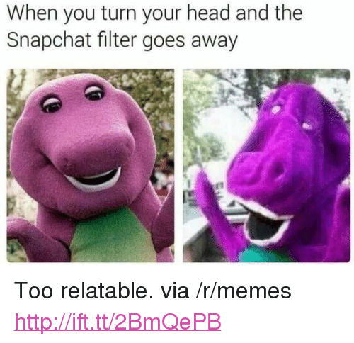 "Head, Memes, and Snapchat: When you turn your head and the  Snapchat filter goes away <p>Too relatable. via /r/memes <a href=""http://ift.tt/2BmQePB"">http://ift.tt/2BmQePB</a></p>"