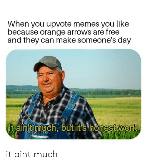 Memes, Free, and Orange: When you upvote memes you like  because orange arrows are free  and they can make someone's day  Itain much.outit's honestWork  0 it aint much