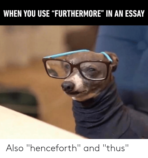 """Dank, 🤖, and You: WHEN YOU USE """"FURTHERMORE"""" IN AN ESSAY Also """"henceforth"""" and """"thus"""""""