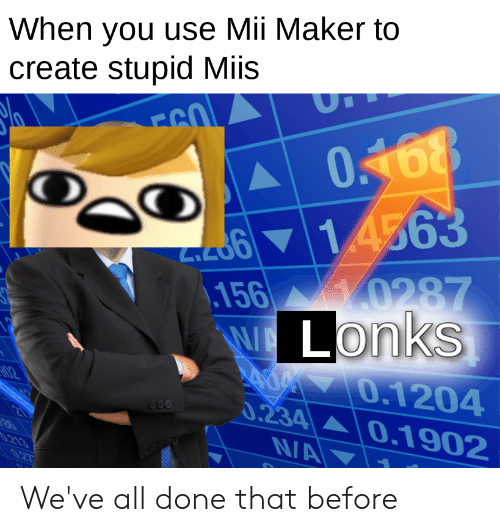Dank Memes, Create, and Maker: When you use Mii Maker to  create stupid Miis  FSO  O168  9977  d61 4563  156 0287  WALONKS  A 70.1204  0.234 0.1902  NA  02  660  .213 We've all done that before