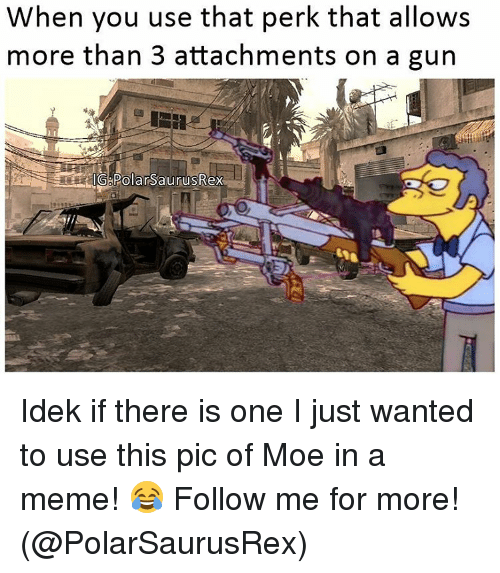 Memes, Moe., and 🤖: When you use that perk that allows  more than 3 attachments on a gun Idek if there is one I just wanted to use this pic of Moe in a meme! 😂 Follow me for more! (@PolarSaurusRex)