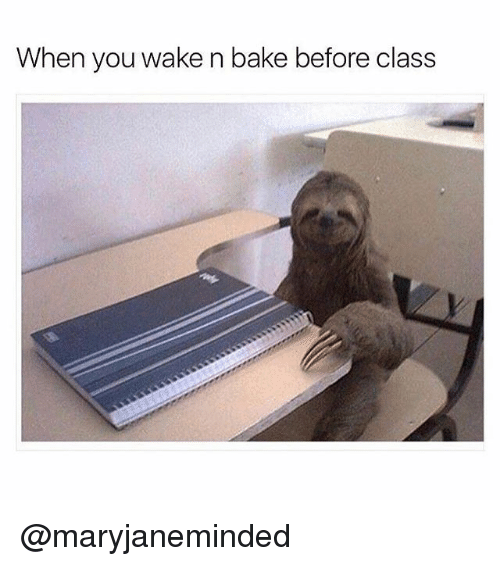 Memes, 🤖, and Class: When you wake n bake before class @maryjaneminded