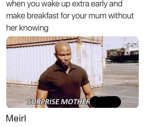 Breakfast, MeIRL, and Her: when you wake up extra early and  make breakfast for your mum without  her knowing  SURPRISE MOTHER Meirl
