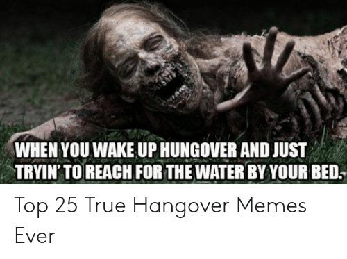 Memes, True, and Hangover: WHEN YOU WAKE UP HUNGOVER AND JUST  TRYIN' TO REACH FOR THE WATER BY YOUR BED. Top 25 True Hangover Memes Ever