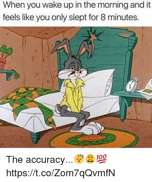 Memes, 🤖, and Wake: When you wake up in the morning and it  feels like you only slept for 8 minutes. The accuracy...😴😩💯 https://t.co/Zom7qQvmfN