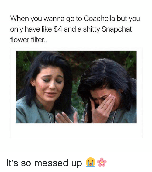 Coachella, Snapchat, and Flower: When you wanna go to Coachella but you  only have like $4 and a shitty Snapchat  flower filter.. It's so messed up 😭🌸