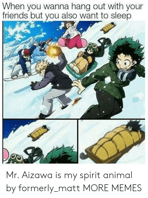 Dank, Friends, and Memes: When you wanna hang out with your  friends but you also want to sleep Mr. Aizawa is my spirit animal by formerly_matt MORE MEMES